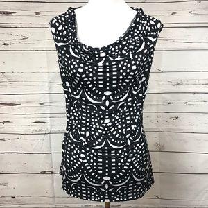 Worthington Black White Sleeveless Blouse Sz XL